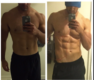 On the left Adam was working out a ton to lose weight. Once we fine-tuned hit nutrition he got to the lower body fat shown on the right in six weeks.