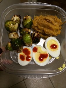 Here we have foods I will eat cold or hot; my favorite butternut protein squash recipe, balsamic roasted brussel sprouts, and 1.5 hard boiled eggs.