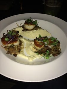 This was a lighter dish I got in Indiana: cauliflower mash with scallops and sautéed mushrooms and onions.